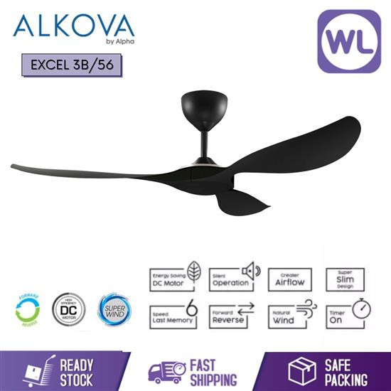 Picture of ALKOVA CEILING FAN EXCEL EXCEL 3B/56 BLACK