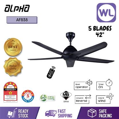"Picture of ALPHA CEILING FAN AF838/42"" 5 BLADE BLACK"