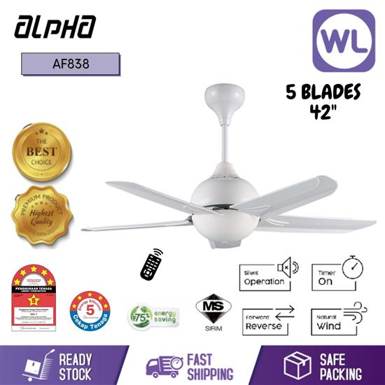 """Picture of ALPHA CEILING FAN AF838/42"""" 5 BLADE WHITE"""