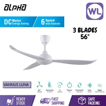 "Picture of ALPHA CEILING FAN VANNUS LUNA 3B/56"" (MATT WHITE/ DC MOTOR)"