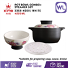 Picture of [4L] COLOR KING CERAMIC POT BOWL COMBO WITH STEAMER SET (3358-4000/ WHITE)