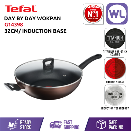 Picture of TEFAL COOKWARE DAY BY DAY WOKPAN WITH LID G14398 (32CM/ INDUCTION BASE)
