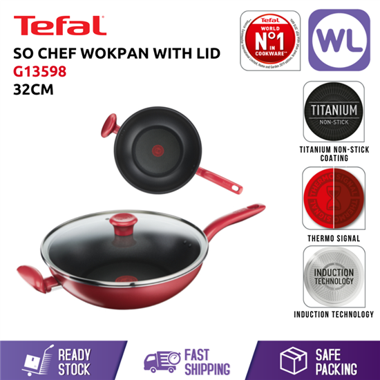 Picture of TEFAL COOKWARE SO CHEF WOKPAN WITH LID G13598 (32CM/ INDUCTION BASE)