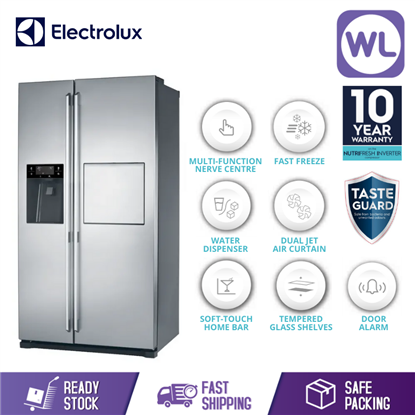 Picture of ELECTROLUX SIDE BY SIDE FRIDGE ESE5687SB (608L/ STAINLESS STEEL)