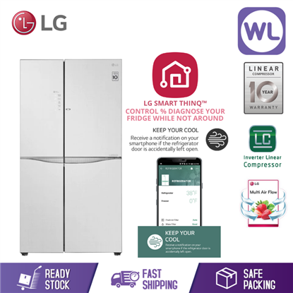 Picture of LG SIDE BY SIDE FRIDGE GC-M247UGUV (675L/ LINEN WHITE/ GLASS DOOR)
