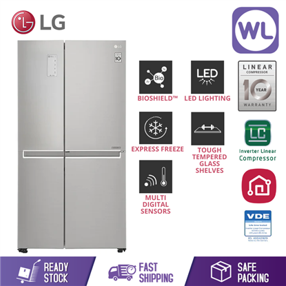 Picture of LG SIDE BY SIDE FRIDGE GC-M247SLUV (567L/ PLATINUM SILVER)