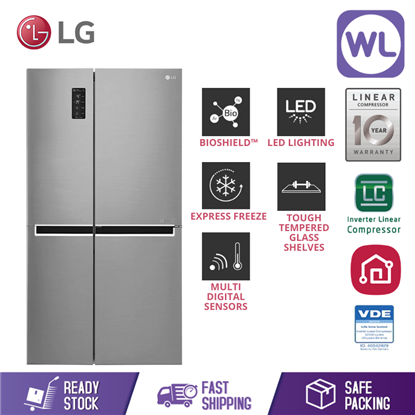 Picture of LG SIDE BY SIDE FRIDGE GC-B247SLUV (626L/ PLATINUM SILVER)