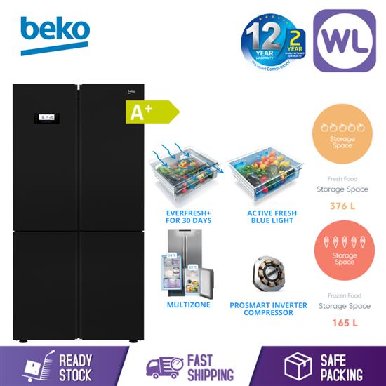 Picture of BEKO MULTI DOOR FRIDGE GN1416233ZGB (626L/ BLACK GLASS)
