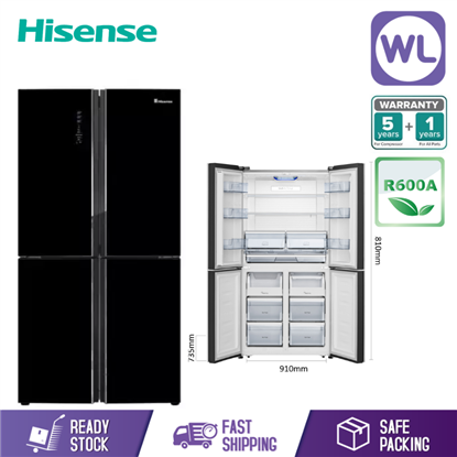 Picture of HISENSE 4 DOOR FRIDGE RQ690N4AWBU (660L/ BLACK GLASS)
