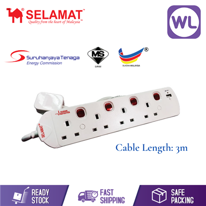 Picture of SELAMAT 4 GANG NEON TRAILING SOCKET WITH USB & SURGE MA-1184