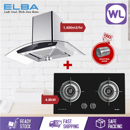 Picture of ELBA COOKER HOOD INFINITO EH-J9088(SS) + GLASS STOVE EGH-F8582GX(BK)