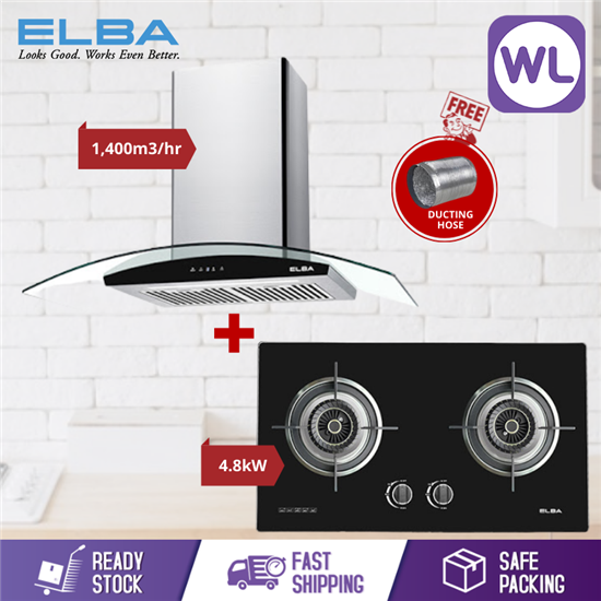 Picture of ELBA DESIGNER HOOD INFINITO EH-J9034ST(SS) + BUILT-IN GLASS STOVE EGH-F8582GX(BK)