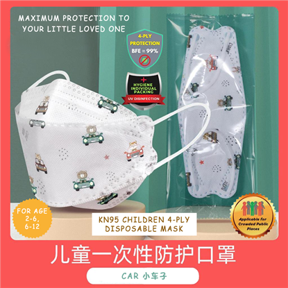 Picture of 4 PLY KIDS (2-12Y)  INDIVIDUAL PACK KOREA KF94 4D DISPOSABLE FACE MASK (CAR) 10PCS