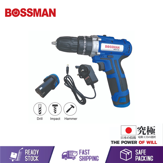 Picture of BOSSMAN 12V LI-ION CORDLESS IMPACT DRILL (3-MODE)(FREE BATTERY/CHARGER)(BCD-12I)