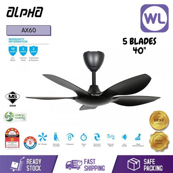 Picture of ALPHA CEILING FAN AX60/5B 40'' BLACK