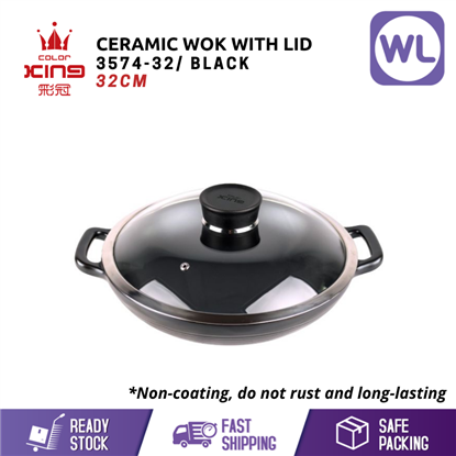Picture of COLOR KING 32CM CERAMIC WOK WITH LID (3574-32/ BLACK)