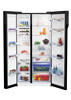 Picture of BEKO SIDE BY SIDE FRIDGE GN163130ZGB (91CM/ BLACK/ GLASS)