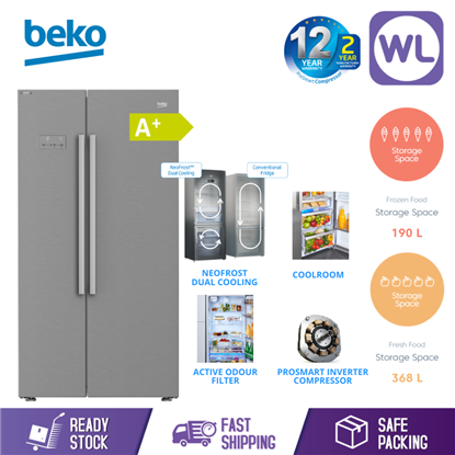 Picture of BEKO SIDE BY SIDE FRIDGE FREEZER ASL141X (640L/ PEARL STEEL)