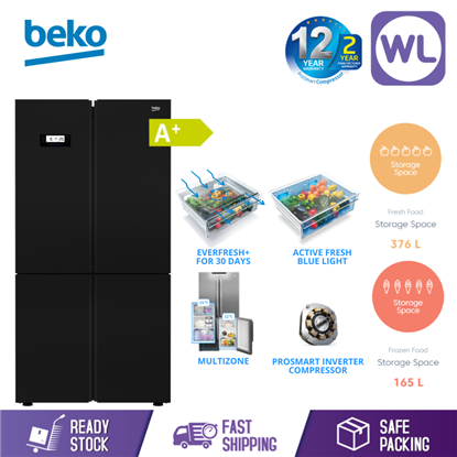 Picture of BEKO MULTI DOOR FRIDGE GN1416233ZGB (626L/ BLACK GLASS)
