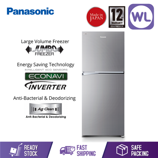 Picture of PANASONIC 2 DOOR FRIDGE NR-BL302PSMY (268L/ STAINLESS STEEL)