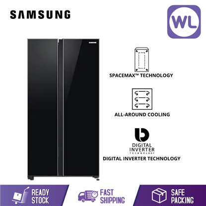 Picture of SAMSUNG SIDE BY SIDE WITH SPACEMAX FRIDGE RS62R50312C (680L/ BLACK)
