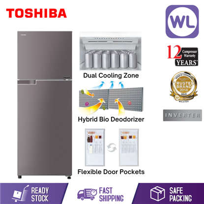 Picture of TOSHIBA 2 DOOR REFRIGERATOR GR-A35MBZ(350L/ DARK SILVER)