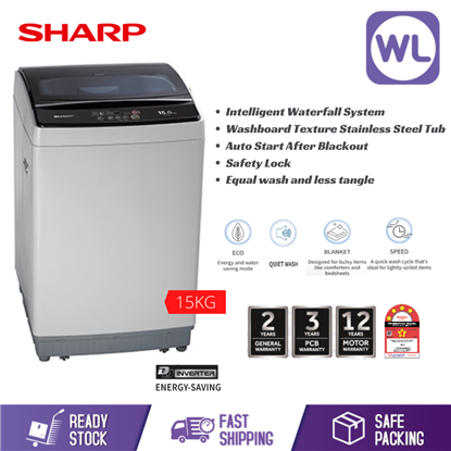 Picture of SHARP 15kg FULL AUTO TOP LOAD WASHER ESX156