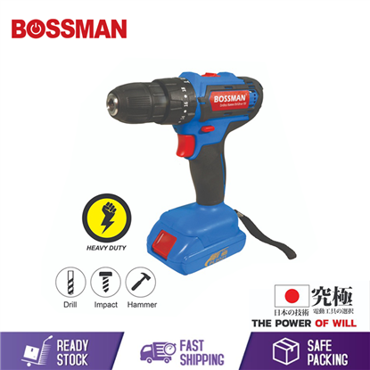 Picture of BOSSMAN 18V LITHIUM-IOM COMBI DRILL (INDUSTRIAL)(FREE 2 BATTERY 18V 1.5AH/CHARGER)(65MM SCREW BIT +/+ X 1)(HEAVY-DUTY)